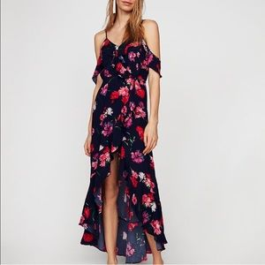Floral Ruffle Cold Shoulder Maxi Dress